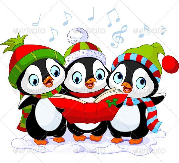 Christmas carolers penguins i. Caroling clipart cute