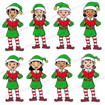 Caroling clipart dancing. Singing elves choir clip