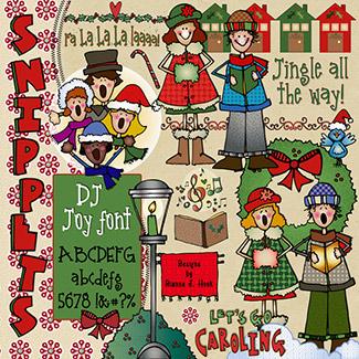 Festive clip art snippets. Caroling clipart december