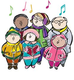 Caroling clipart december. Christmas on th bethany