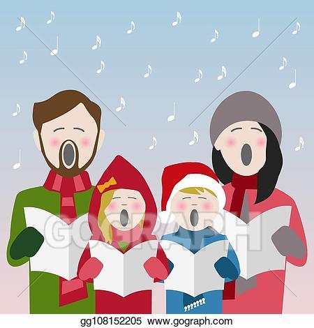Caroling clipart family. Eps illustration singing christmas