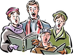 Caroling clipart family. Cartoon of a singing