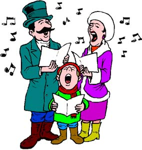 December holidays go day. Caroling clipart family
