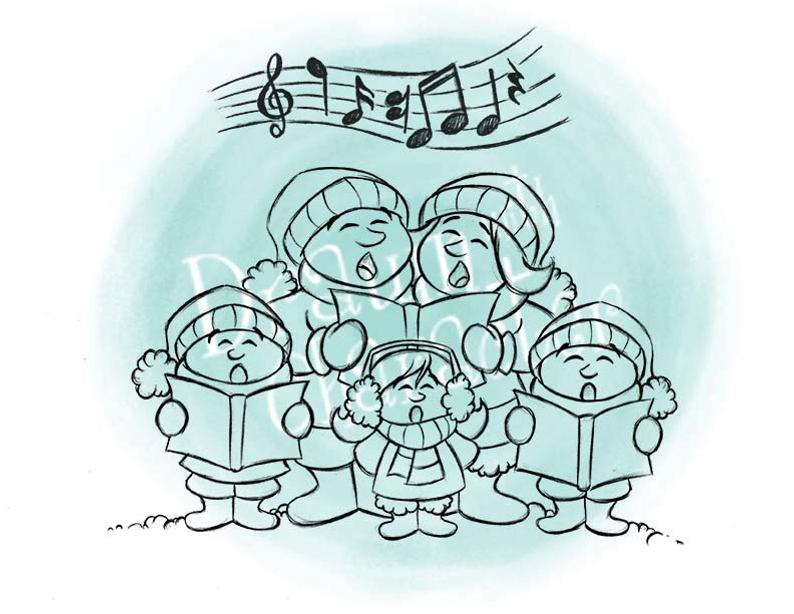 Christmas digital clip art. Caroling clipart family