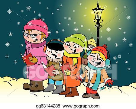 Caroling clipart group. Vector kids illustration