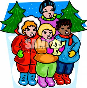 Caroling clipart group. A of children singing