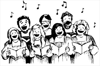 Pondering on christmas carols. Caroling clipart group