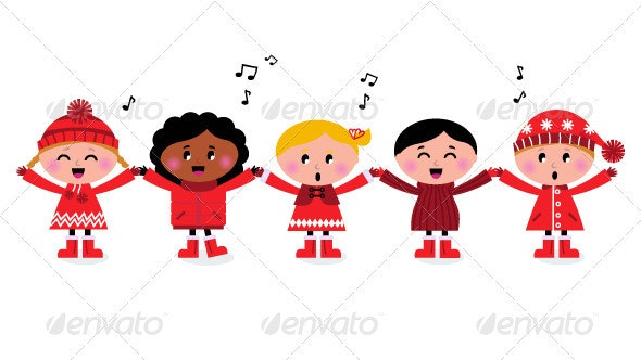Happy smiling multicultural kids. Caroling clipart group