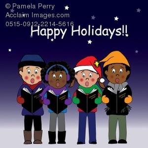 Caroling clipart holiday. Clip art illustration of