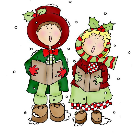 Couple color dearie dolls. Caroling clipart memories