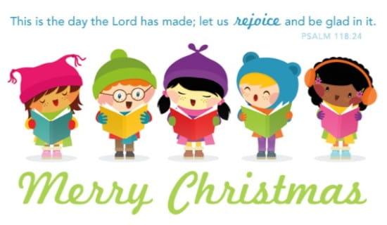 Kids ecard free cards. Caroling clipart merry christmas