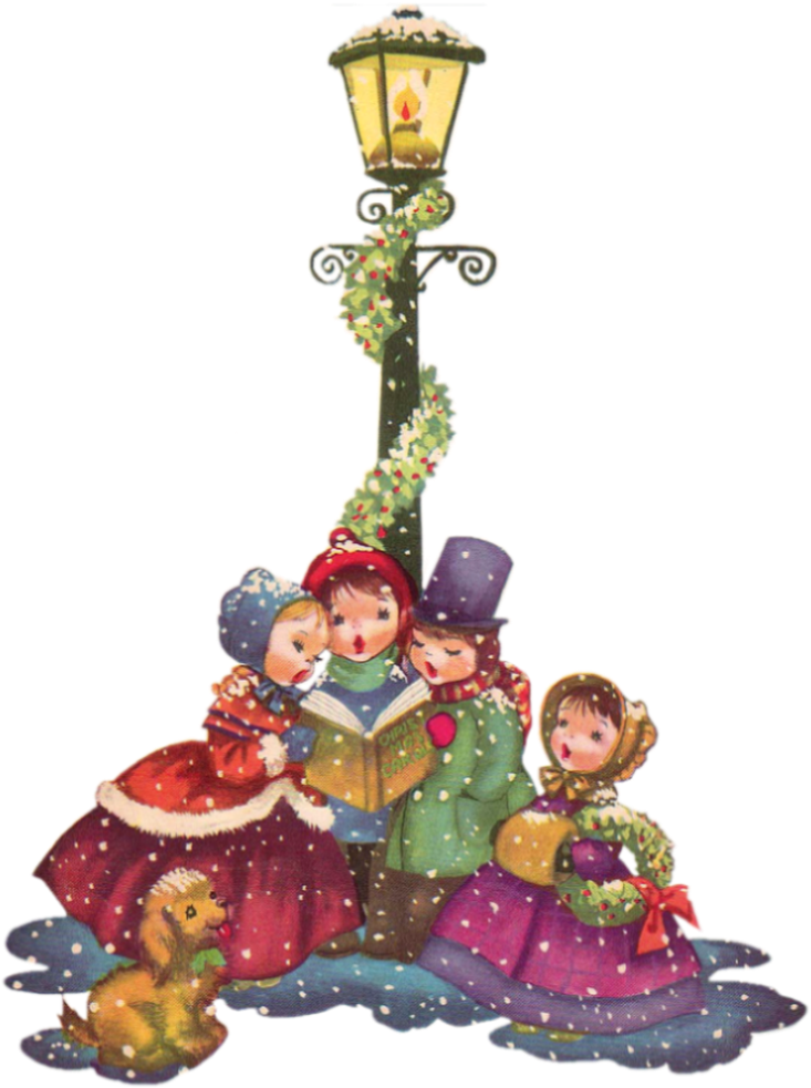 Caroling clipart merry christmas. Hd vintage png cliparts