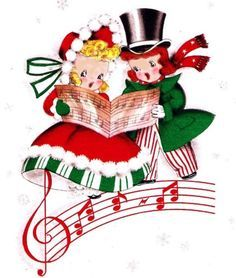 Caroling clipart merry christmas. Vintage carolers pinterest cards