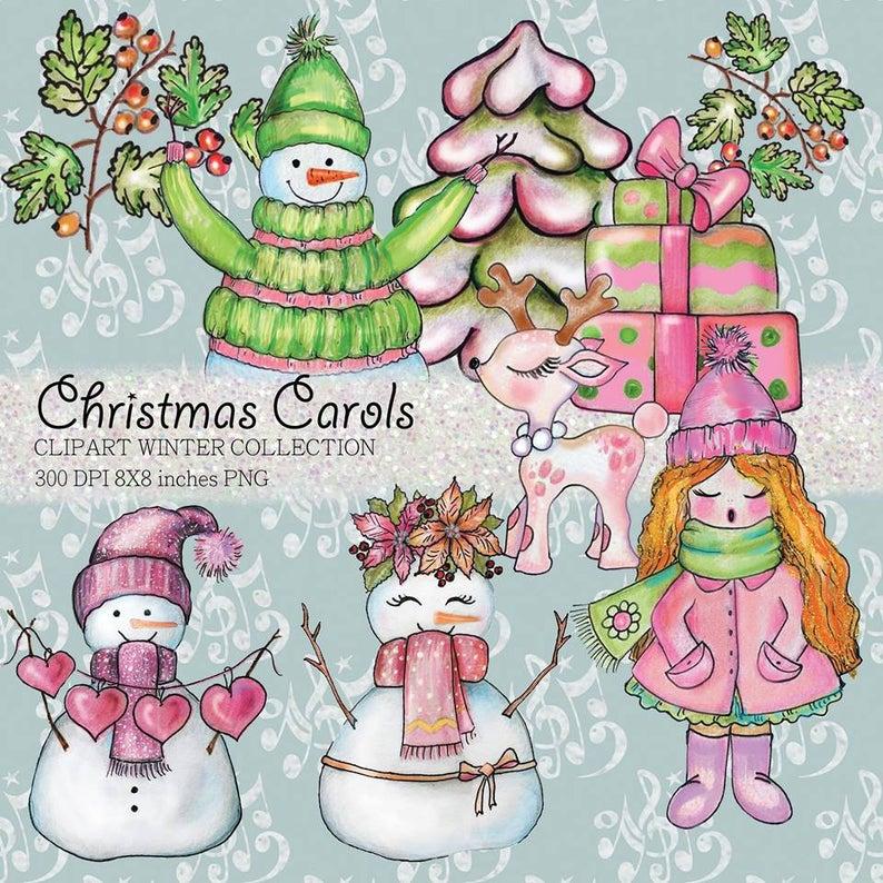 Caroling clipart merry christmas. Carols digital scrapbook designs