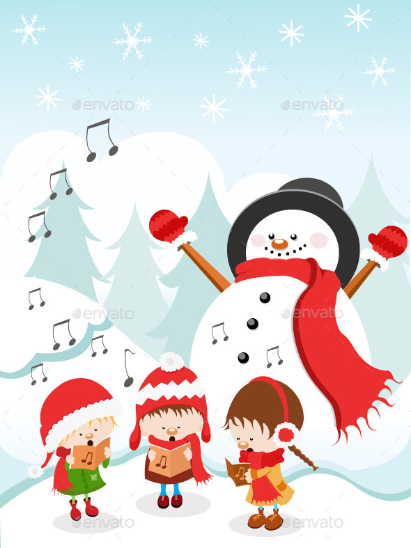 Caroling clipart music. Kids singing christmas carols