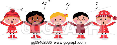 Caroling clipart music. Eps vector happy smiling