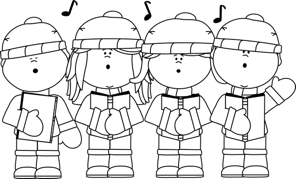 Caroling clipart my cute graphics. Black and white christmas