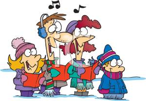 Caroling clipart outdoor. Cartoon of a family