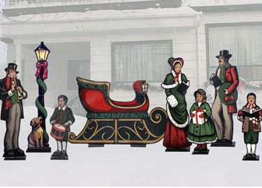 Caroling clipart outdoor. Life size christmas carolers