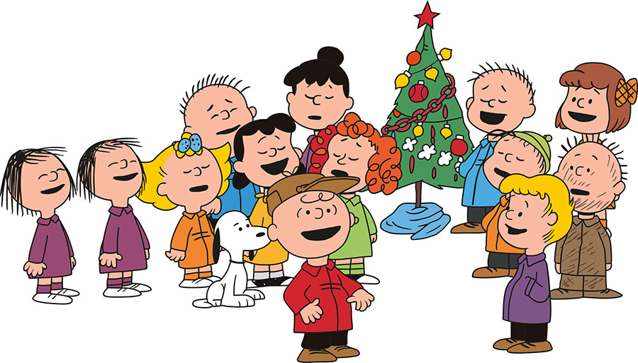 Caroling clipart peanuts christmas. Teleflora joins charlie brown