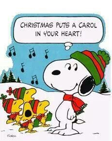 Snoopy and birds puts. Caroling clipart peanuts christmas