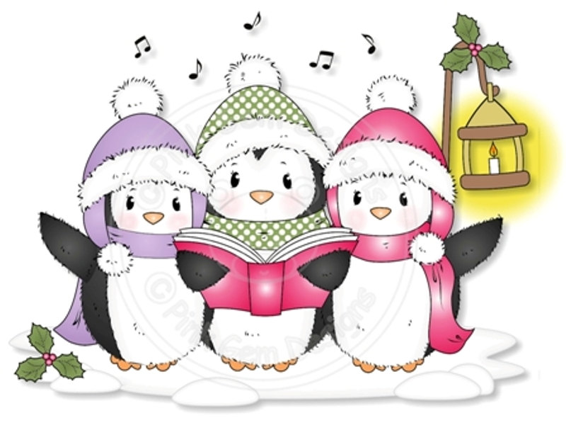 Caroling clipart penguin. Digital digi cute stamp
