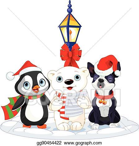Vector art christmas carolers. Caroling clipart penguin