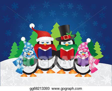 Vector stock penguins carolers. Caroling clipart penguin