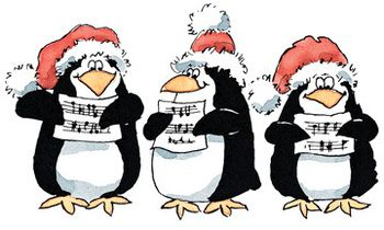 Penguins rubber stamp sets. Caroling clipart penguin