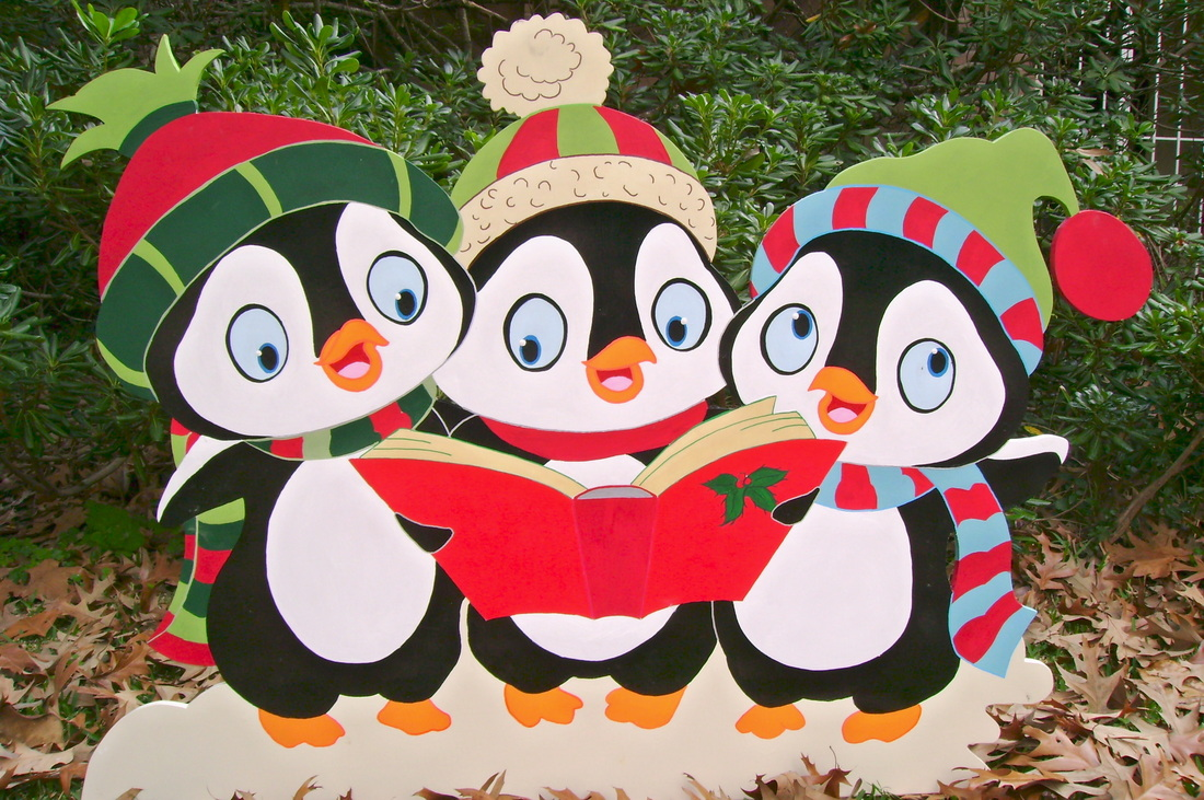 Caroling clipart penguin. Christmas carolers wood yard