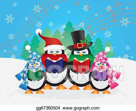 Eps vector penguins christmas. Caroling clipart penguin