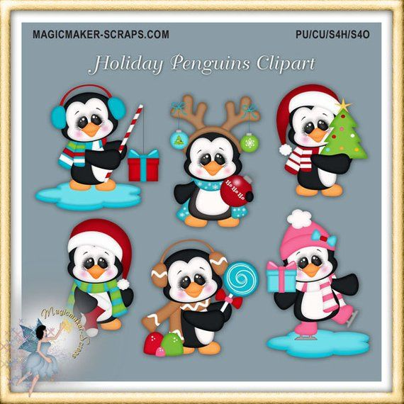 Caroling clipart penguin. Holiday christmas products