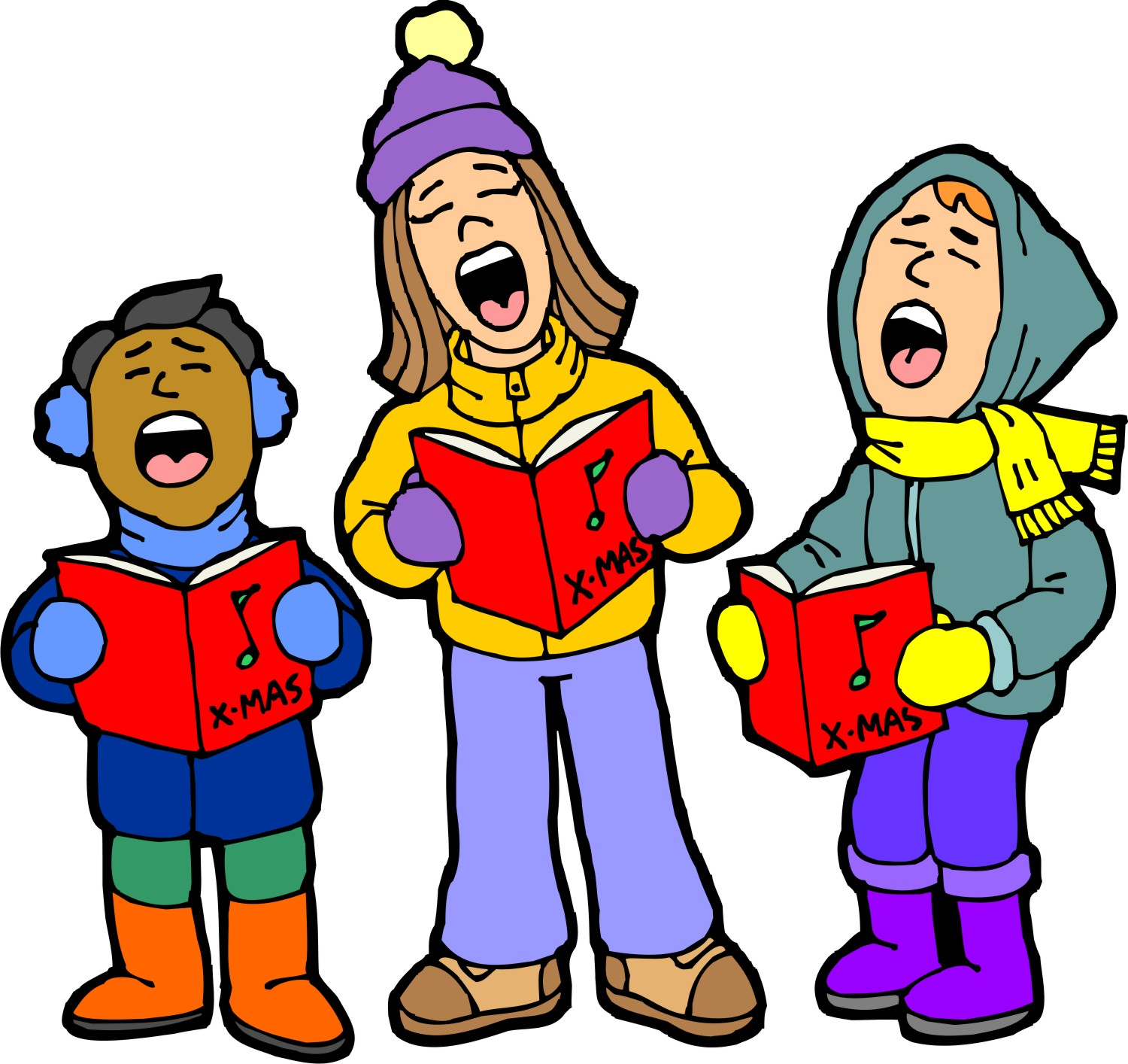 Monroe school sing along. Caroling clipart performance