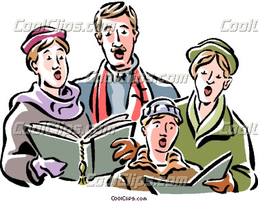 Caroling clipart person. Christmas carolers vector clip