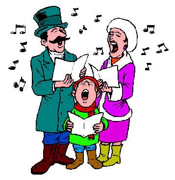 Local government christmas carols. Caroling clipart person