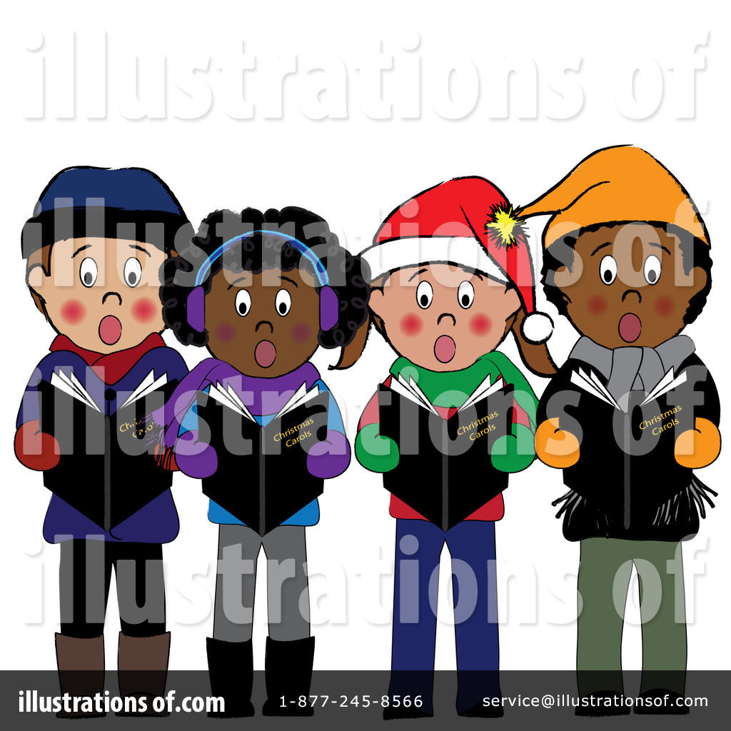 Caroling clipart person. Christmas illustration by pams