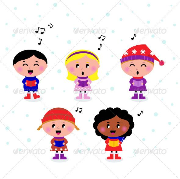 Caroling clipart preschool. Cute multicultural singing and