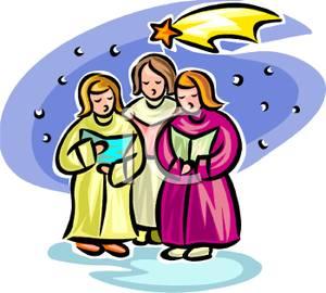 Clip art image women. Caroling clipart religious