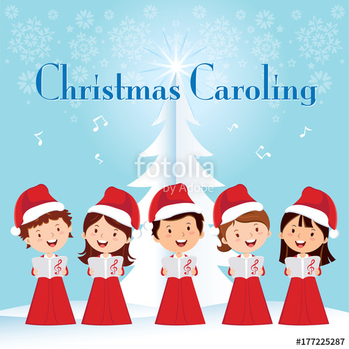 Children christmas choir singing. Caroling clipart religious
