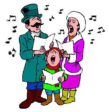 People Singing Christmas Carols Clipart