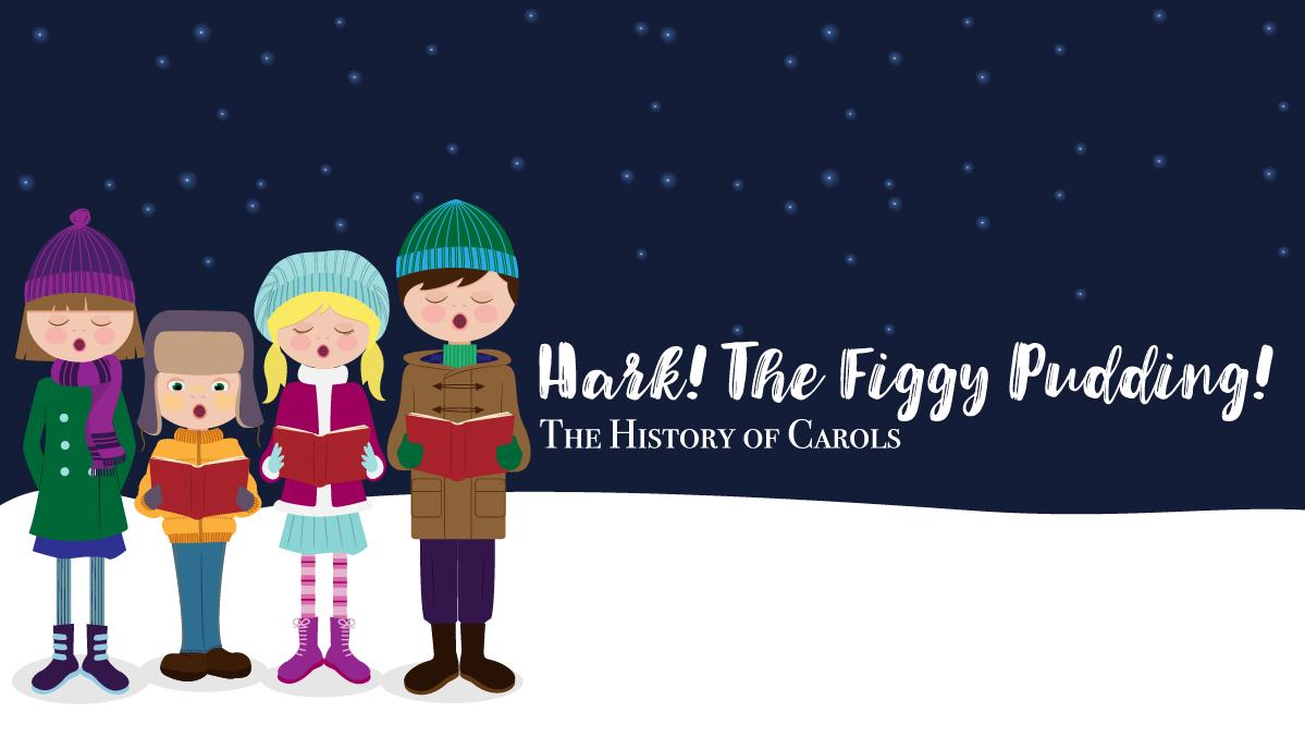Caroling clipart repertoire. Hark the figgy pudding