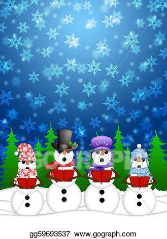 Caroling clipart scene. Stock illustration snowman carolers