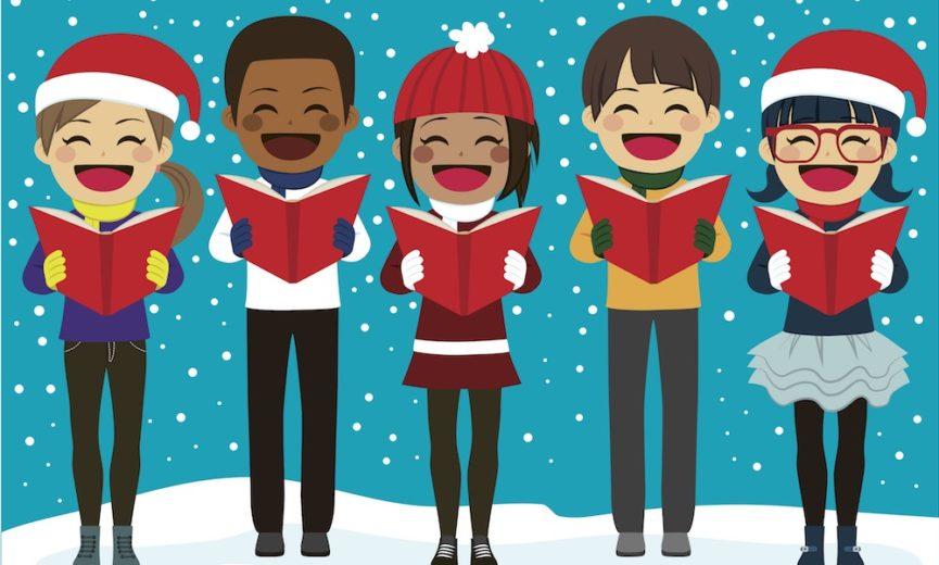 Christmas party life church. Caroling clipart school