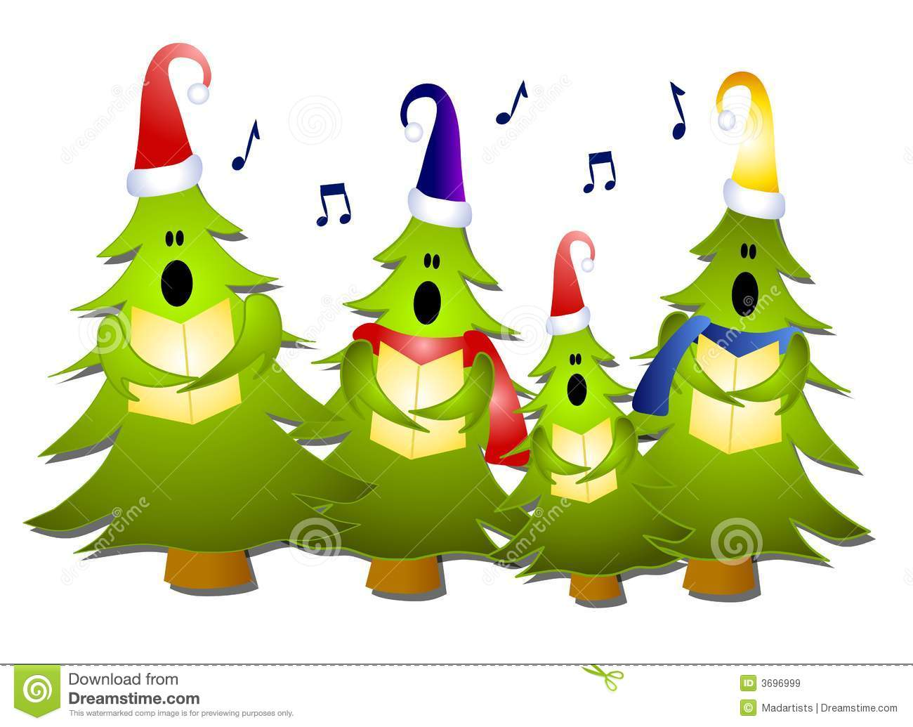 Christmas music notes tree. Caroling clipart school