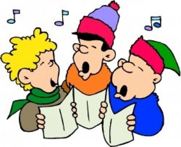 Christmas carols draw on. Caroling clipart senior