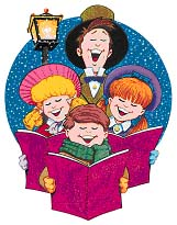 December holidays go day. Caroling clipart senior