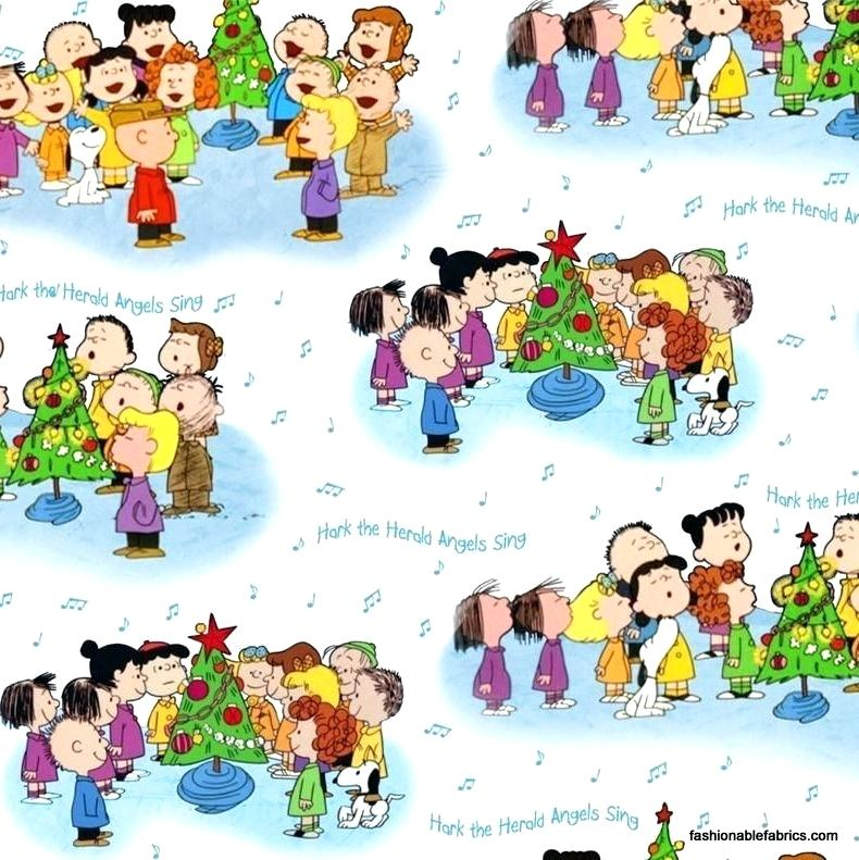 Caroling clipart snoopy christmas. Peanuts fabric time character