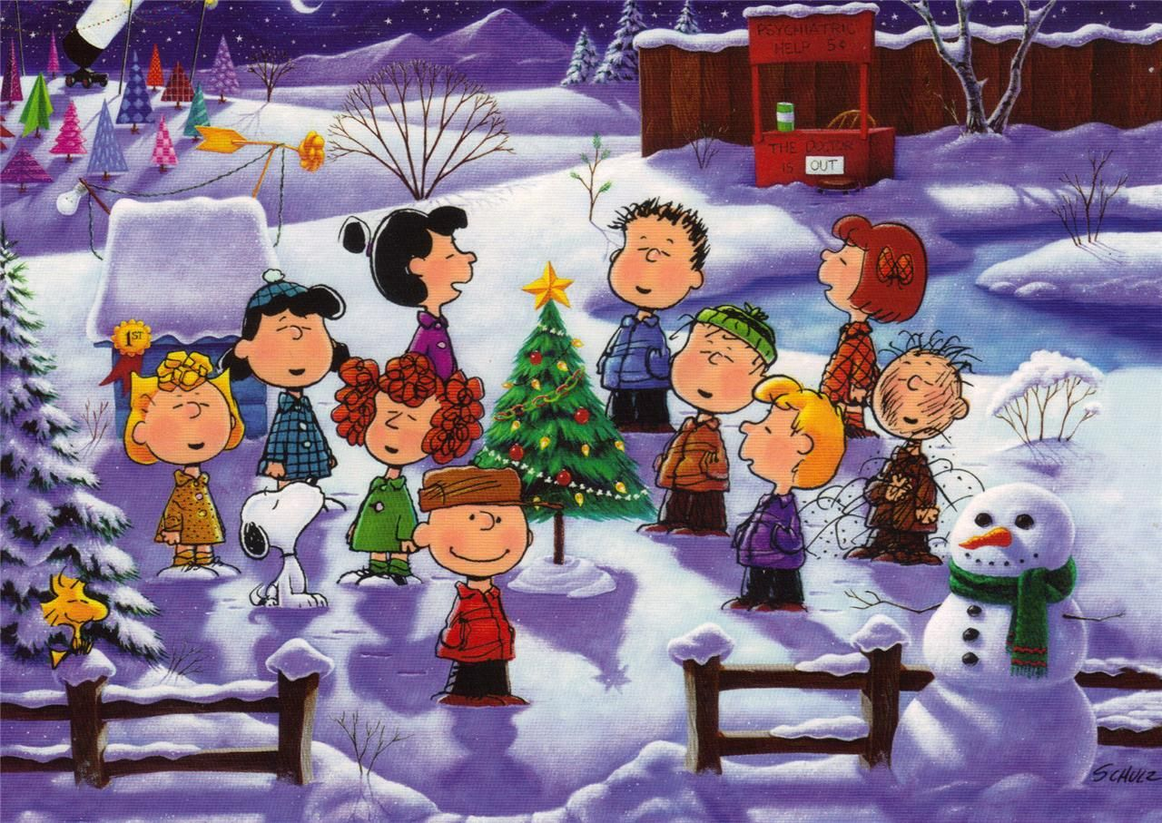 Peanuts gang singing carols. Caroling clipart snoopy christmas