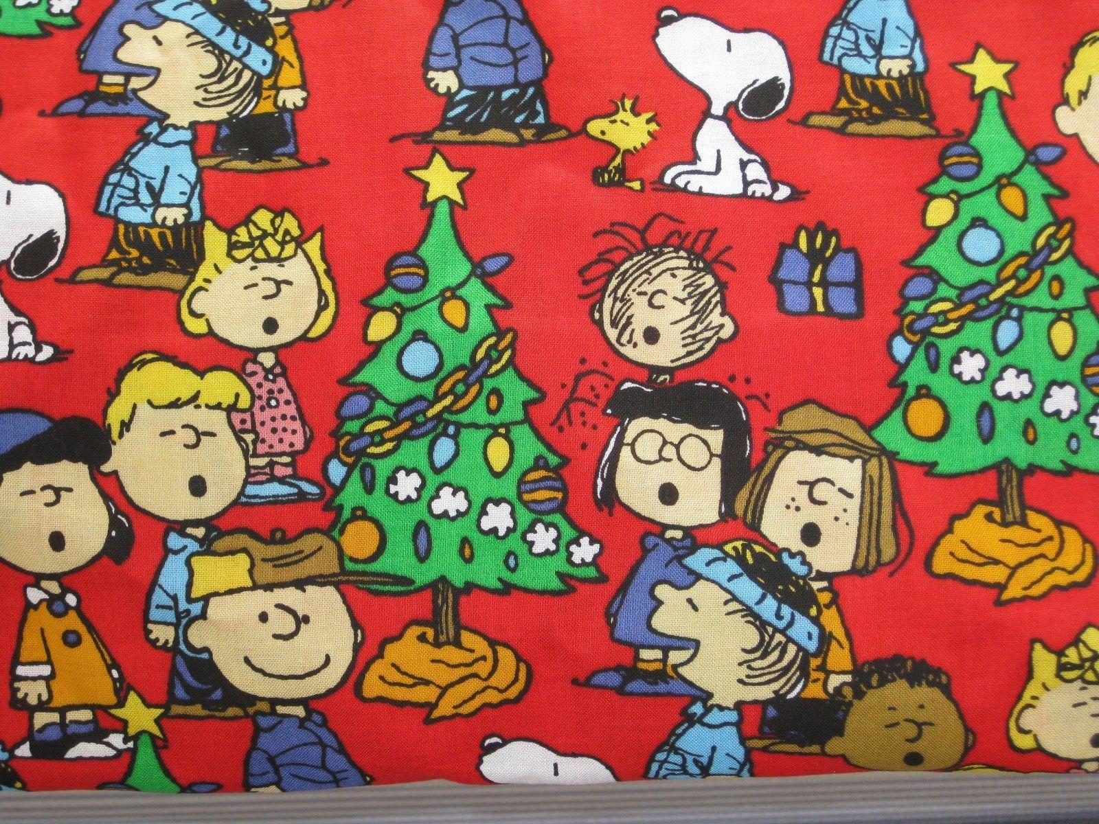 Peanuts gang fabric fat. Caroling clipart snoopy christmas