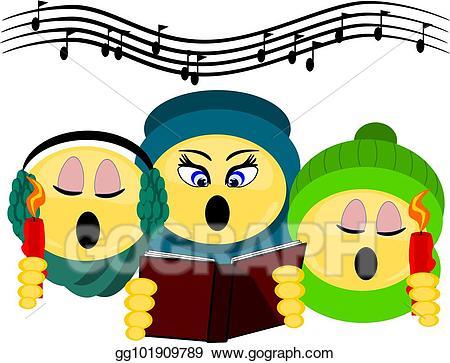 Vector stock emoji carolers. Caroling clipart song